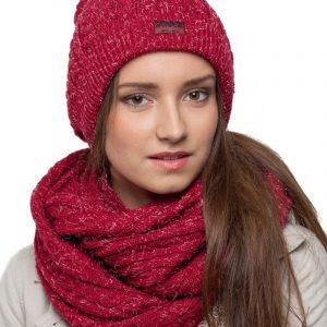 bonnet écharpe bordeaux paillettes femme
