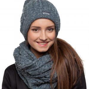 bonnet écharpe gris paillettes femme