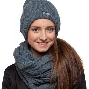 bonnet écharpe gris femme