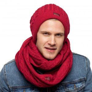 bonnet écharpe bordeaux homme