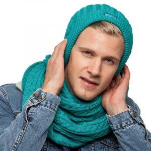 bonnet écharpe turquoise homme