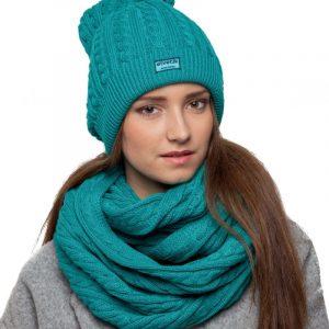 bonnet écharpe turquoise femme