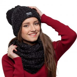 bonnet écharpe noir paillettes femme