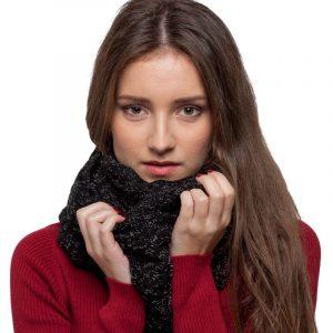 écharpe noir paillettes femme