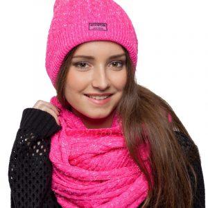 bonnet écharpe rose paillettes femme