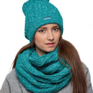 bonnet écharpe turquoise paillettes femme