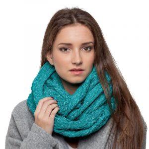 écharpe turquoise paillettes femme