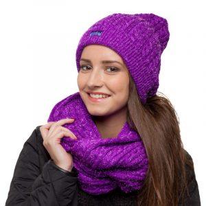 bonnet écharpe violet paillettes femme