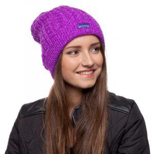 bonnet violet paillettes femme