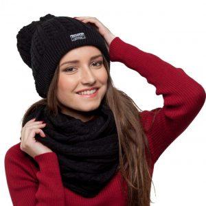bonnet écharpe noir femme