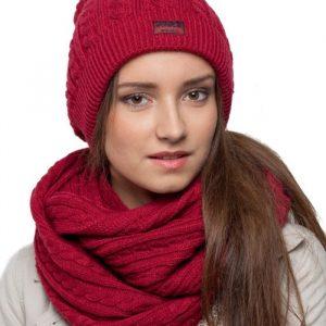 bonnet écharpe bordeaux femme