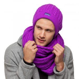 bonnet écharpe violet homme