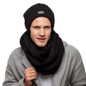 bonnet écharpe noir homme