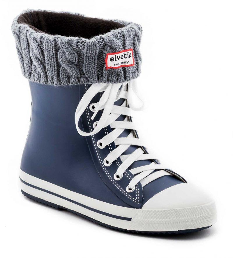 SKY DREAM avec chaussettes polaire gris - Bottes de pluie elvetik - Essayez les bottes bleu marine !