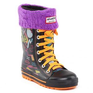 elvetik botte de pluie enfant avec chaussettes polaire violette