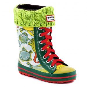 elvetik botte de pluie pour enfant avec chaussettes polaire verte