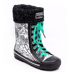 botte de pluie enfant elvetik avec chaussettes polaire noire paillettes