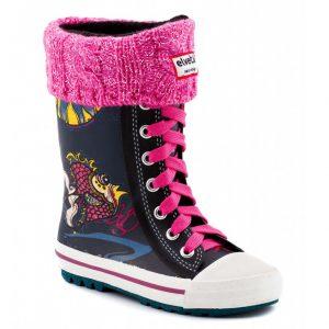 botte de pluie enfant elvetik avec chaussettes polaire rose