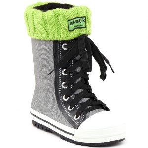 elvetik botte de pluie enfant avec chaussettes polaire verte