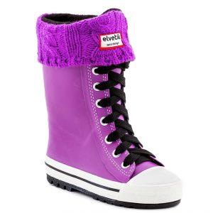 elvetik botte de pluie pour enfant avec chaussettes polaire violette